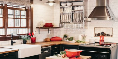 Beautiful clean kitchen with eco pots and pans