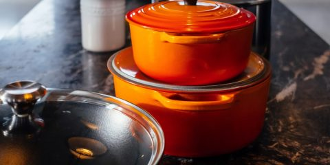 orange non stick pots