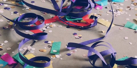 Paper decorations on the floor