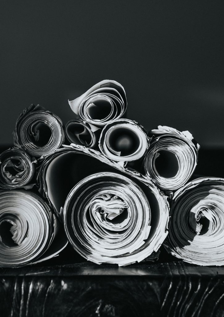 Rolls of paper on a table