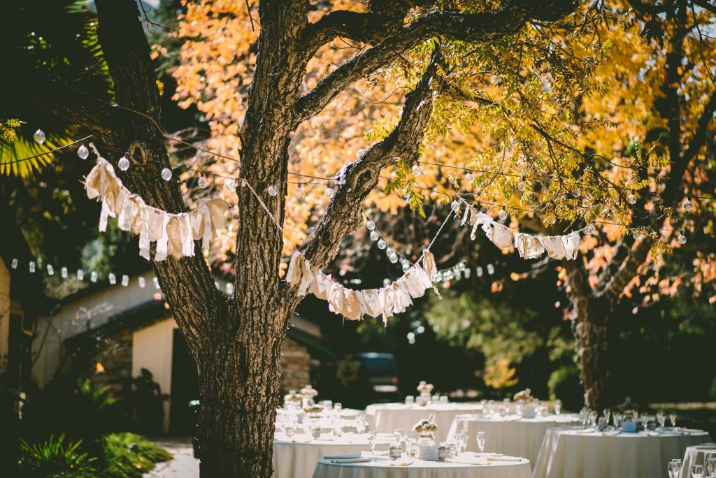 wedding reception in the evening under the stars in the open