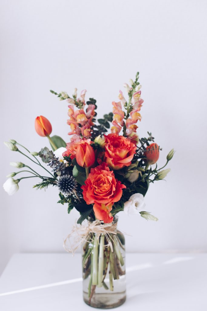 beautiful wedding flowers in a glass vase