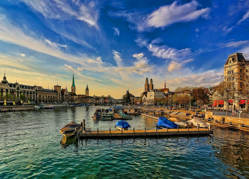 Zurich, Switzerland photo of the river with boats on it