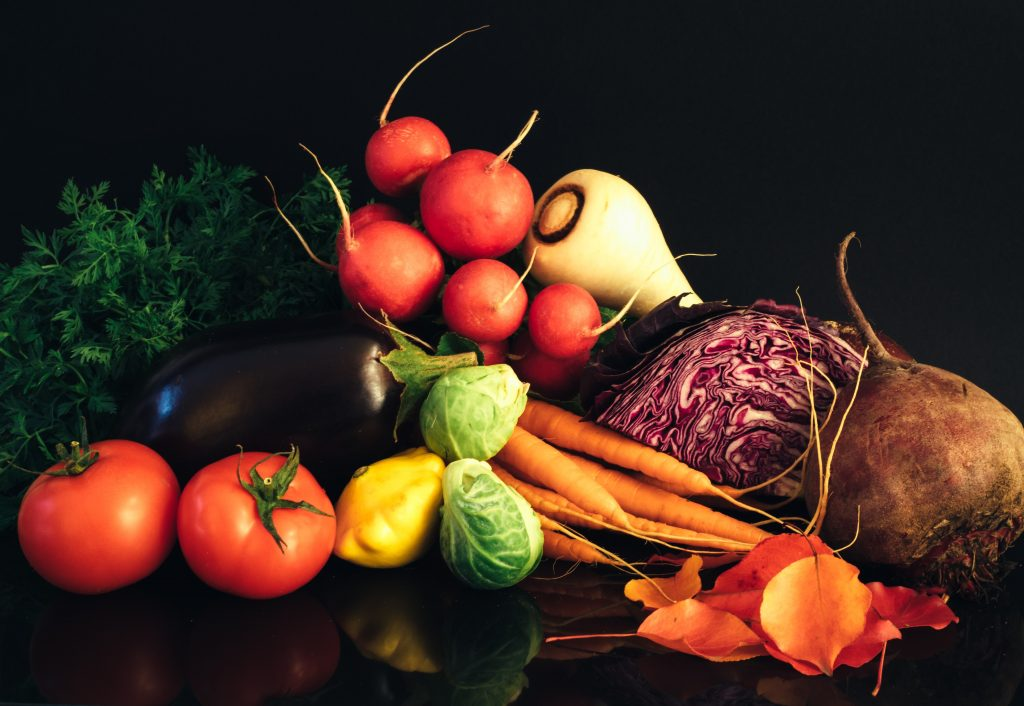 fresh organic fruit and vegetables on a table