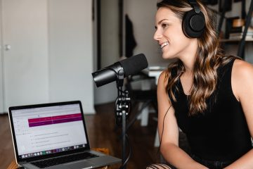 woman doing a podcast