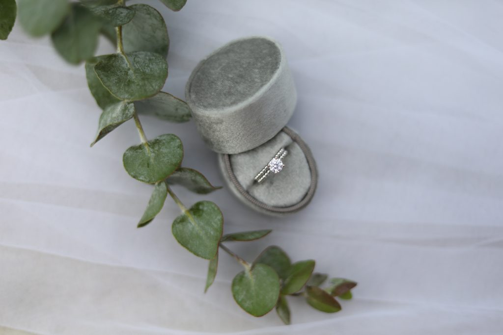 engagement ring in a gift box on a table with a plant on it